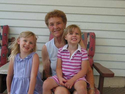 Girls with Great Grandma Wehr