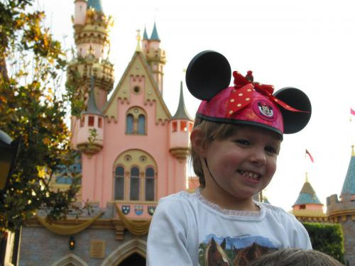 Lilly in Front of the Disneyland Castle