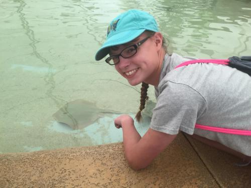 Lilly Petting the Stingrays
